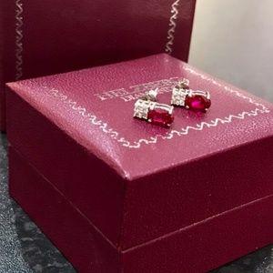 Helzberg Lab Diamond & Ruby Earrings